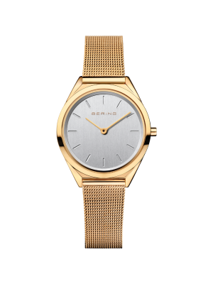 Bering Ladies yellow milanese strap watch