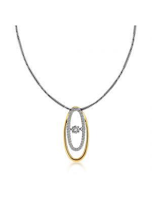 18ct rose & white gold oval diamond pendant