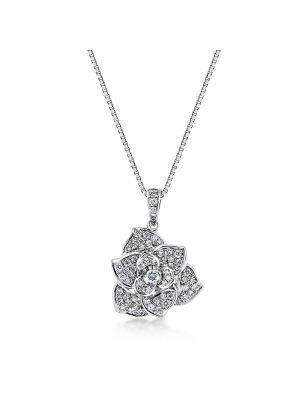 18ct white gold floral design diamond pendant