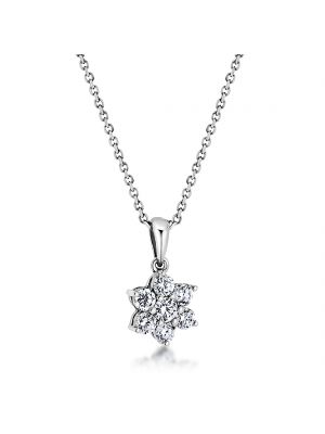 18ct white gold floral design seven stone diamond pendant