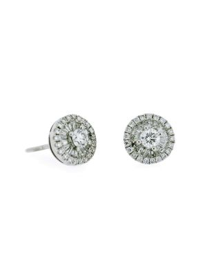 18ct white gold diamond halo stud earrings