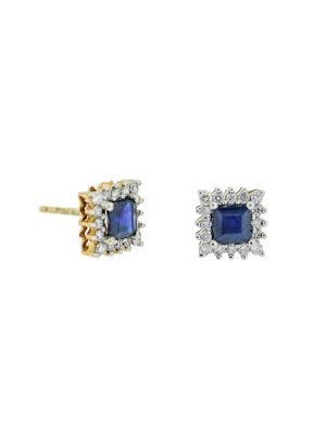9ct yellow gold diamond & sapphire stud earring