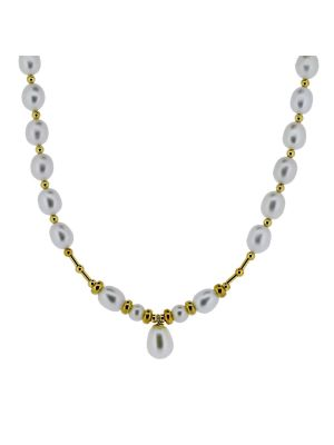 9ct yellow gold bead & freshwater  & cultured pearl drop necklet