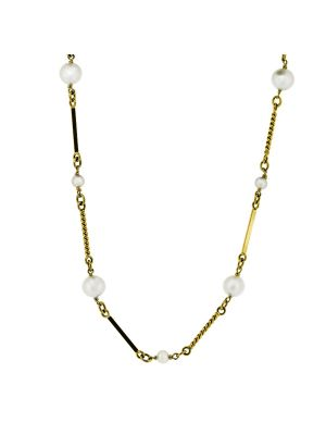 9ct yellow gold twist & graduated pearl necklet