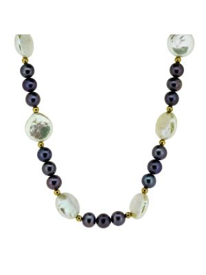 14ct yellow gold bead necklet with black & white cultured pearls