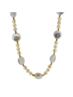 14ct yellow gold bead & pink cultured pearl & shell shaped pearl necklet