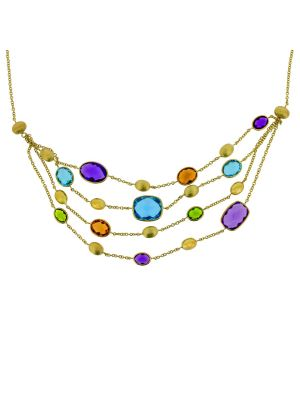 9ct yellow gold four strand multi stone necklet