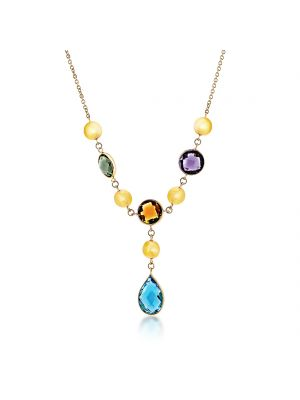 9ct yellow gold multi stone drop necklet