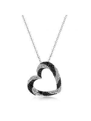 18ct White gold black & colourless diamond heart pendant