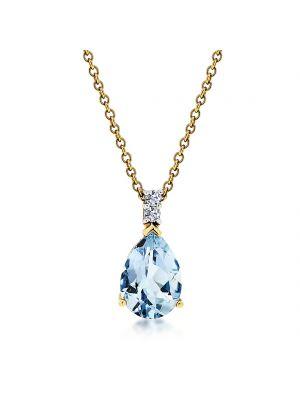 18ct yellow gold pear shape aquamarine & diamond pendant