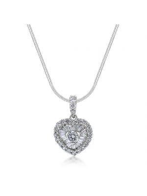 18ct white gold baguette & round brilliant diamond heart pendant