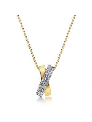 18ct yellow & white gold diamond set two row pendant