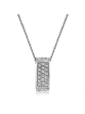 18ct White gold diamond set pendant & chain