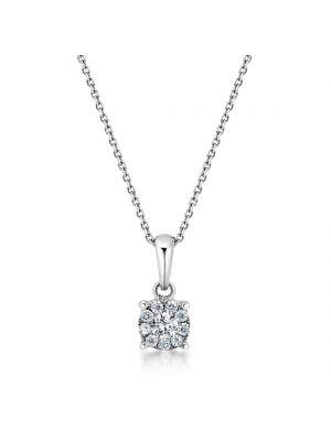 18ct white gold microset diamond pendant