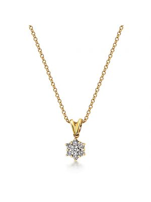9ct yellow gold diamond cluster pendant