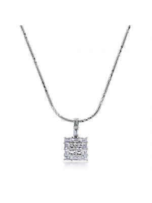 18ct white gold princess & baguette cut diamond pendant