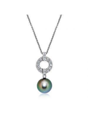 18ct white gold diamond & black cultured pearl pendant