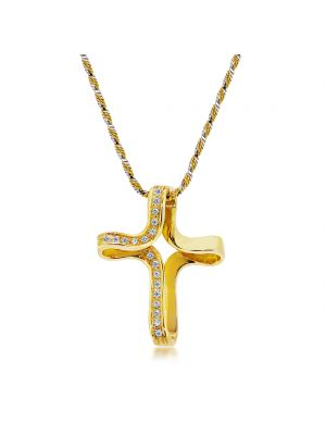 18ct yellow gold diamond twist style cross