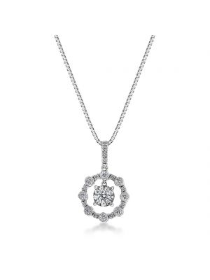 18ct white gold diamond microset pendant