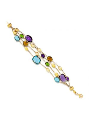 9ct yellow gold four strand multi stone bracelet