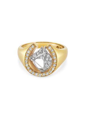 18ct Yellow Gold Gent's Diamond Horseshoe Ring