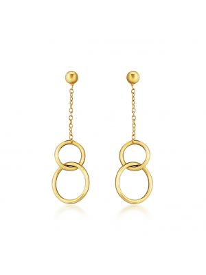 Interlocking circle 9ct gold drop earrings