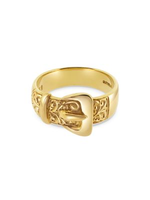 9ct Yellow Gold Gent's Patterned Buckle Ring