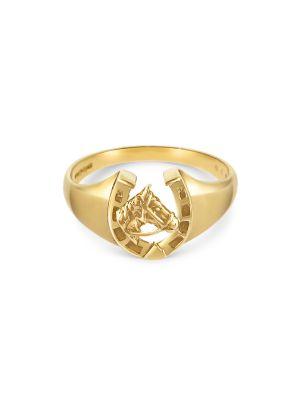 9ct Yellow Gold Gent's Ornate Horseshoe Ring