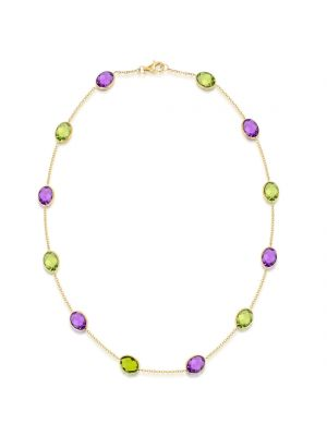 14ct Yellow Gold Amethyst & Peridot Necklace