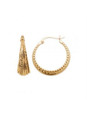 18ct yellow gold microplated medium wide span hoop earrings