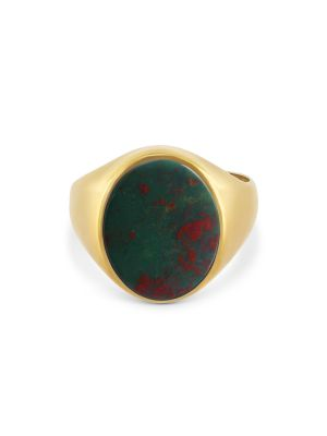 9ct Yellow Gold Gent's Oval Bloodstone Ring