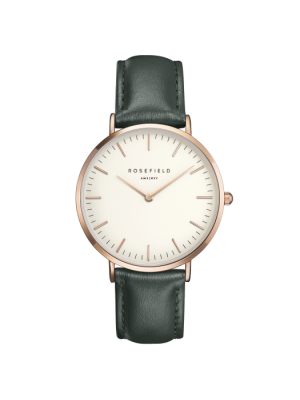 Rosefield Bowery rosegold watch with green leather strap 38mm