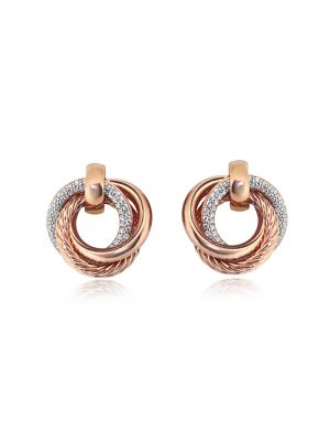 Sterling Silver Gold Plated and CZ Twist Earrings