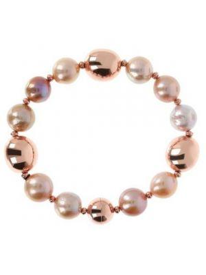 Bronzallure Pearl & Golden Rose Beads Magnetic Clasp Bracelet