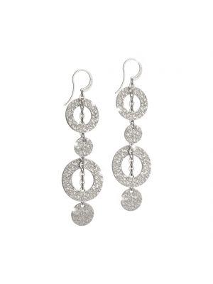 Rebecca white gold microplated on bronze circular drop earrings