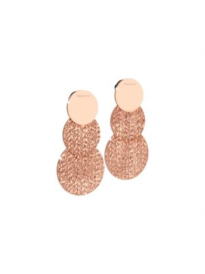REBECCA 24ct rosegold microplated on bronze double circle drop earrings