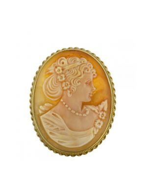 9ct yellow gold cameo brooch with rope edging
