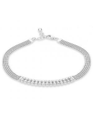 Sterling Silver Four Row CZ Set Bracelet