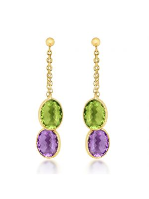 9ct Yellow Gold Amethyst & Peridot Drop Earrings