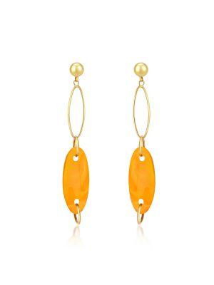 9ct Yellow Gold Amber Drop Earrings