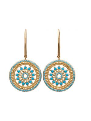 18ct yellow gold microplated round turquoise flower drop earring