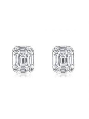 18ct White Gold Baguette Diamond Stud Earrings