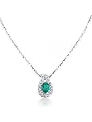 18ct White Gold Diamond & Emerald Pendant