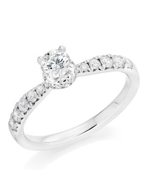 18ct white gold round brilliant diamond ring with round brilliant diamond shoulders