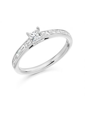 18ct white gold princess cut diamond ring with baguette shoulders