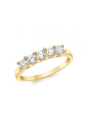 9ct Cubic Zirconia Five Stone Eternity Ring