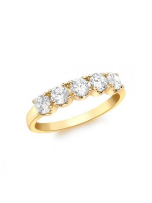 9ct Yellow Gold Five Stone Cubic Zirconia Ring