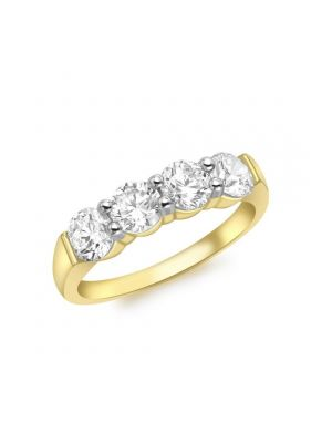 9ct Yellow Gold Four Stone Cubic Zirconia Ring