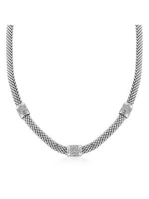 Sterling Silver Italian Mesh Style Necklace