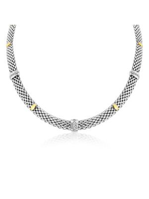 Italian 9ct Yellow Gold & Sterling Silver Necklace